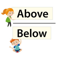 Opposite Adjectives With Light And Dark Vector Image Kids Holding Wordcards Above Below