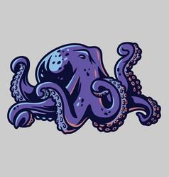 Kraken octopus cuttle fish tentacles with suckers vector