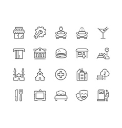 Line points interest icons vector