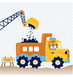 Lion truck driver in work zone cartoon vector