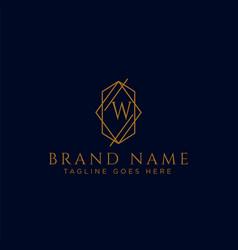 Luxury logotype premium letter w logo with golden vector