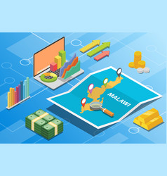 Malawi isometric financial economy condition vector