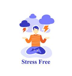 Man meditating practice stress free emotion vector
