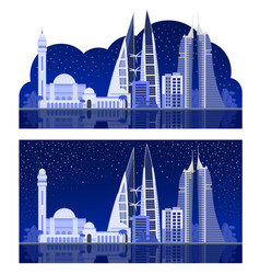 manama beautiful night view vector image