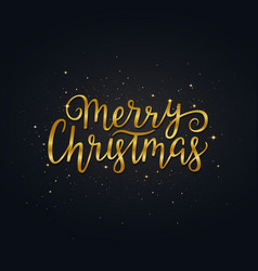 Merry christmas gold hand drawn lettering bright vector