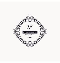 Monogram luxury frame vector