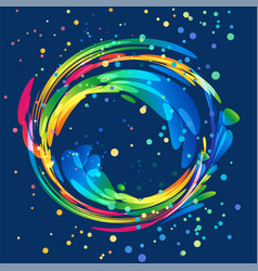 Multicolored round abstract element on dark vector