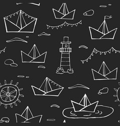 nautical seamless pattern white lines upon black vector image