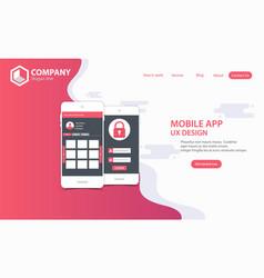 New trendy mobile app website landing page vector