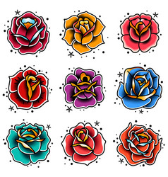 Old school tattoo roses set vector