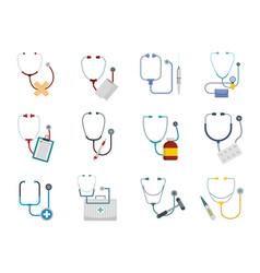 phonendoscope stethoscope icons set flat style vector image