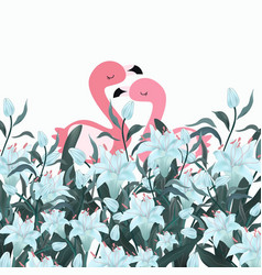 pink couple flamingo in blue flower forest doodle vector image