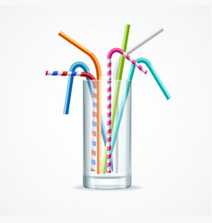 realistic 3d detailed color plastic straws in vector image