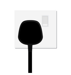 realistic black plug inserted in electrical vector image