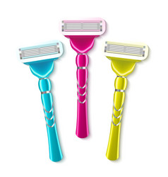realistic shaving razor instrument set vector image