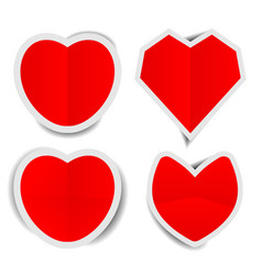 Red heart paper stickers with shadows vector