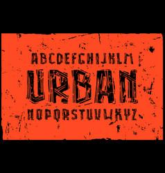 sans serif font in linocut style vector image