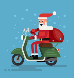 Santa going on a scooter vector