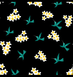 seamless floral tropical pattern with hummingbird vector image