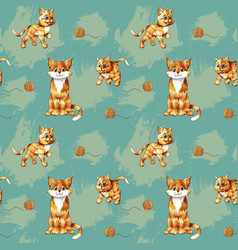 Seamless pattern of cartoon ginger cats on vector