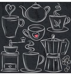 Set cup of hot drink on blackboard vector