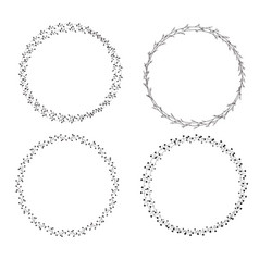 Set handdrawn wreath icon on white background vector