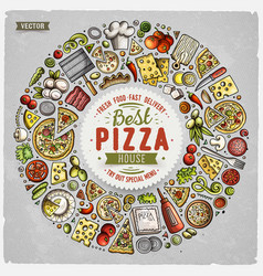 set of dpizza cartoon doodle objects symbols and vector image