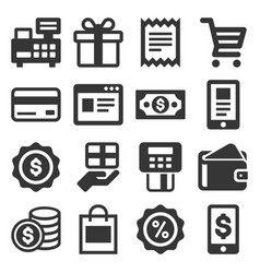 shopping icons set on white background vector image