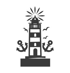 Tall beacon with bright light on top monochrome vector