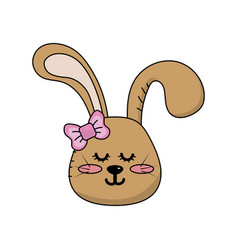 Teddy rabbit girl head animal wild vector
