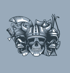 Three skulls roman barbarian and slav vector
