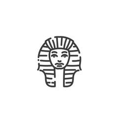 Tutankhamun famous egyptian pharaoh flat outline vector