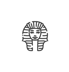 tutankhamun famous egyptian pharaoh flat outline vector image