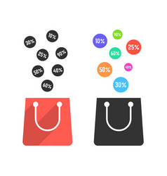 Two shopping bags with falling prices vector