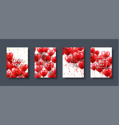 valentines day abstract card template banner with vector image