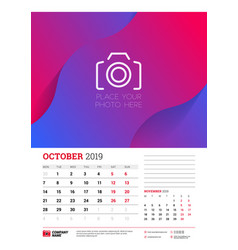 Wall calendar planner template for october 2019 vector