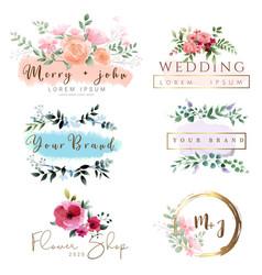 watercolor logo design template vector image