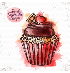 Watercolor sweet cupcake vector image