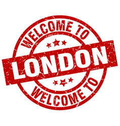 Welcome to london red stamp vector