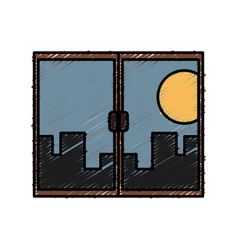 window with cityscape vector image