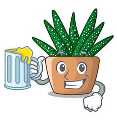 With juice cartoon zebra cactus blooming in garden vector