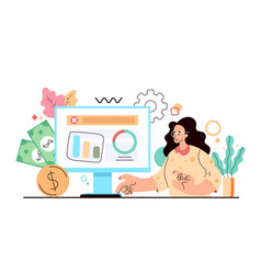 woman office worker character looking analytics vector image