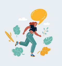 woman running make anouncment on white speech vector image