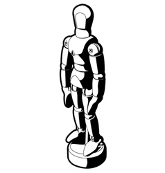 wood art mannequin black and white graphic vector image