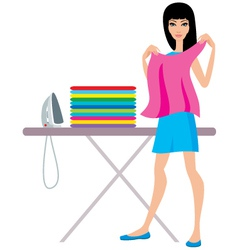 Young woman irons clothes vector image vector image