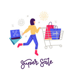 young woman on shopping black friday concept girl vector image