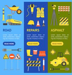 cartoon road construction banner vecrtical set vector image