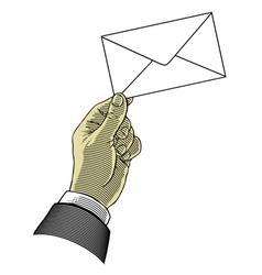 hand holding envelope vector image