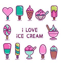ice cream icons set vector image