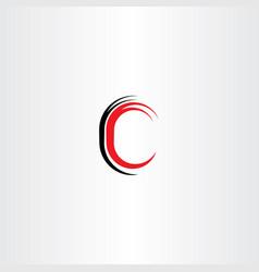 red black letter c sign symbol vector image vector image